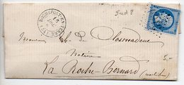 Empire 20c (n° 22) Sur Lettre De 1867 Oblitéré Losange GC 3169 Avec CaD De Rochefort En Terre - 1849-1876: Periodo Clásico