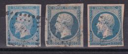 CP36/ LOT  NAPOLEON N° 14 OBL / 3 TIMBRES - 1853-1860 Napoleon III