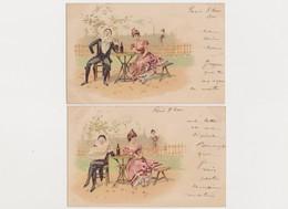 6 Cartes Fantaisie  / Arlequin , Pierrot Et Colombine - Zandrino