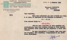 VP15.023 - INDOCHINE - VIETNAM - Facture - Comptoir Pharmaceutique D'Extrême - Orient à SAIGON - Factures & Documents Commerciaux