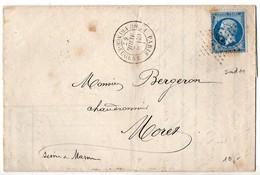 Empire 20c (n° 22) Sur Lettre De 1867 Oblitéré Etoile 36 Avec CaD 'Paris Bt Du Prince Eugène' - Marcophilie (Lettres)