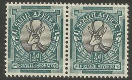 South Africa - 1937 Springbok 1/2d Bilingual Pair MNH **    SG 75b   Sc 46b - South Africa (...-1961)