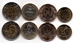 Chile - Set 4 Coins 10 50 100 500 Peso 2006 - 2015 AUNC Lemberg-Zp - Chile