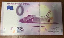 ALLEMAGNE BILLET AVIATION NAVETTE SPATIALE 0 EURO SOUVENIR 2019 BANKNOTE BANK NOTE 0 EURO SCHEIN MONEY - Allemagne