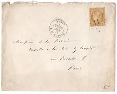 Cérès 15c (n° 59) Sur Lettre De 1871 Oblitéré Etoile 11 Avec CaD 'Paris R. St Honoré' - Marcophilie (Lettres)