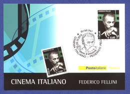 ITALIE FDC Carte Postale Cinema Italiano. Federico Fellini. 2010. Cinéma, Film, Movie. - Cinéma