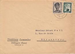 Env Affr Michel 243 + 280 Obl DILLINGEN (SAAR) Du 8.11.51 Adressée à Strasbourg - Lettres & Documents