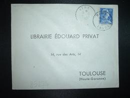 LETTRE TP M. DE MULLER 20F OBL. Tiretée 31-12 1957 HINX LANDES (40) - Manual Postmarks