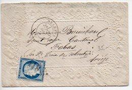 Cérès 25c (n° 60) Sur Valentine De 1871 De Sélestat (Motif En Relief Style Dentelle) - Marcophilie (Lettres)