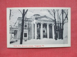 Bixby Free Memorial  Vergenes - Vermont ---- Ref 3397 - United States