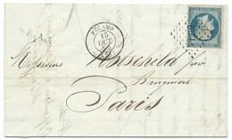 N° 14 BLEU NAPOLEON SUR LETTRE / FECAMP POUR PARIS / 15 OCT 1854 / BANQUE ROTHSCHILD - 1849-1876: Klassieke Periode