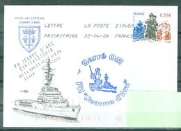 MARCOPHILIE - P H JEANNE D'ARC G.E.A.O.M.2008/2009 Carré OM Escale à CIVITAVECCHIA Du 14 AVR Au 18 AVR 09 Sur Env. Du Bo - Marcophilie (Lettres)