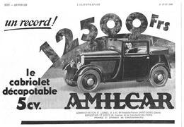 1933 Amilcar Cabriolet Décapotable (Automobile-Voiture-Usines à Saint-Denis) - Dialux Pellicule Lumichrome (publicité) - Publicités