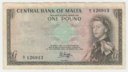 MALTA 1 POUND 1967 - 1969 VF+ PICK 29 - Malta