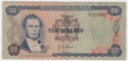 Jamaica 10 Dollars 1960 (1970) Fine Condition Pick 57 Signature 4 - Jamaica