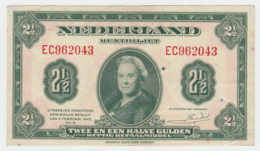 NETHERLANDS 2 1/2 GULDEN 1943 VF++ Pick 65 - [2] 1815-… : Koninkrijk Der Verenigde Nederlanden