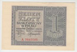 Poland 1 Zloty 1940 AUNC+ Pick 91 - Polen
