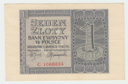 Poland 1 Zloty 1940 XF+ Pick 91 - Poland