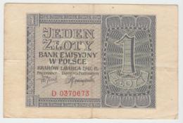Poland 1 Zloty 1940 VF Pick 91 - Poland