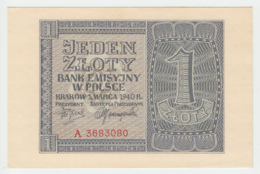 Poland 1 Zloty 1940 AUNC+ Pick 91 - Polonia