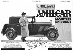 1932 André Baugé De L'opéra-comique Avec Son Amilcar (Automobile - Voiture - Usines à Saint-Denis) - (Publicité - Pub) - Publicités
