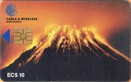 Montserrat -  MON-C1, Soufriere Hills Volcano Night Glow, 10 EC$, 5,000ex. 1998, Used As Scan - Montserrat