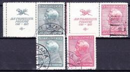 Tchécoslovaquie 1937 Mi 377-8+Zf (Yv 329-30+vignettes), Obliteré - Oblitérés