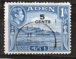 Aden George VI 1951 Single 5 Cents Overprint From The New Decimal Currency Definitive Set. - Aden (1854-1963)
