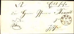 """Germany Prussia - Cassel 1860 Ring-Stempel Auf """" Eilt Sehr""""  Briefhülle über Wolfhagen (Ring Stempel) - Germania"""