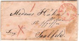Germany Thurn & Taxis Weimar 1851 Roter Einkreis-Stempel, Vollständiger Brief Nach Saalfeld (blauer Einkreis Stempel) - Germania