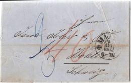 Germany Prussia Mainz 1851 Einkreis-Stempel, Vollständiger Brief über Aarau Nach Wohlen (Schweiz) - Germania