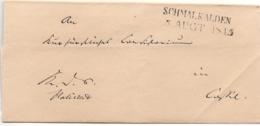 """Germany Prussia - Schmalkalden 1845 2-Zeil Stempel, Briefhülle - R""""ckseite Defekt - Germania"""