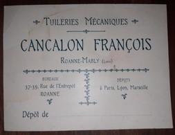 ROANNE MABLY   Carte Commerciale CANCALON François  Agrafes Métalliques Brevetees - Roanne