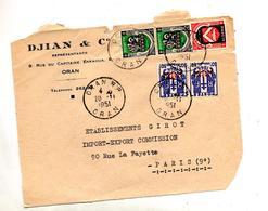 Devant De Lettre  Cachet Oran Sur Chaine Surchargé Armoirie - Argelia (1924-1962)