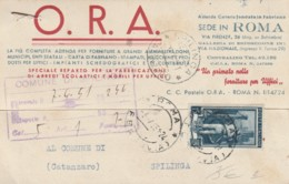CARTOLINA POSTALE 1951 L.15 ITALIA AL LAVORO -TIMBRO SPILINGA CATANZARO (IX102 - 6. 1946-.. Repubblica