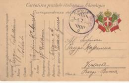 CARTOLINA IN FRANCHIGIA 1915 DISTACCAMENTO 5 COMPAGNIA (IX113 - 1900-44 Vittorio Emanuele III