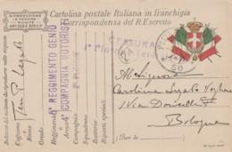 CARTOLINA IN FRANCHIGIA 1917 PM 50 REGG.GENIO COMP MOTORISTI (IX128 - 1900-44 Victor Emmanuel III