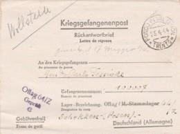 LETTERA 1944 DA CAPO PRIGIONIA TIMBRO FONDO IN VAL DI NON TRENTO (IX171 - 1900-44 Vittorio Emanuele III