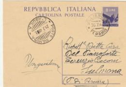 INTERO POSTALE 8 L. 1948 TIMBRI POSTE SULMONA LìAQUILA GIULIANOVA TERAMO (IX248 - Ganzsachen