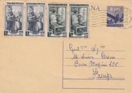 INTERO POSTALE 8 L. 1953 +2X5+2X1 ITYALIA AL LAVORO-TIMBRO RIMINI (IX251 - Interi Postali