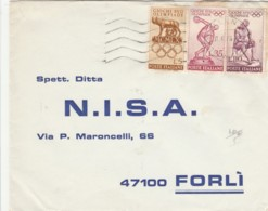 LETTERA 1960 CON 5+35+110 OLIMPIADI TIMBRO VALENZA (IX254 - 6. 1946-.. Republic