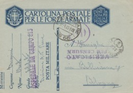 CARTOLINA 1940 PM66 OSPEDALE DA CAMPO (IX300 - Military Mail (PM)