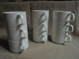 Occasion - Petit Lot De 9 Grandes Tasses à Café Style Bistrot - Tassen