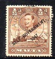 """CI817B - MALTA 1948 , Unificato N. 202 Usato  (2380A) . Self Government VARIETA' """" NT """" UNITE - Malta"""