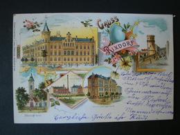 Litho, Gruss Aus Rixdorf B. Berlin, Rathaus, Wasserturm, Böhm. Kirche, Pump-Station, Schule Lessingstr., Gelaufen 1900 - Rixdorf