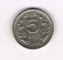 //  INDIA  5 RUPEES  2001 - Inde