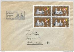 """11 - 62 - Enveloppe Avec Bloc De 4 Timbres Et Oblit Spéciale """"Expo Nationale Lausanne 1955"""" - Marcophilie"""