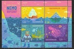 HUNGARY, 2019, MNH, JULES VERNE CAPTAIN NEMO, MARINE LIFE, OCTOPUS, FISH, TURTLES, SHARKS, SHIPS, SHEETLET OF 4v - Contes, Fables & Légendes