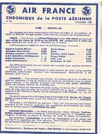 AIR FRANCE  CHRONIQUE  DE LA POSTE  AERIENNE   N°25 NOEL -NOUVEL AN TBE AF03 - Aérodromes