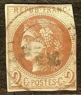 EXTRA BORDEAUX N°40 B 2c Brun-Rouge Oblitéré Cachet à Date Cote 400€ PAS AMINCI - 1870 Emission De Bordeaux